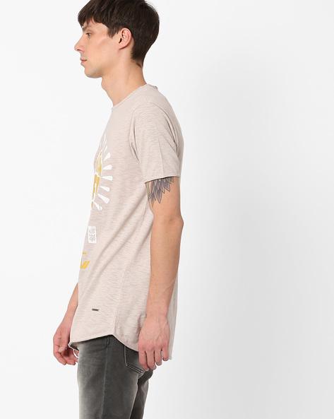 Pigment Print Longline T-shirt By AJIO ( Grey )