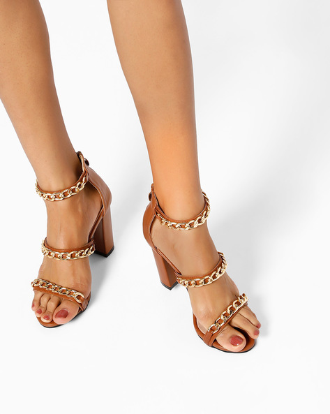 Element Chain Heeled Sandals By MFT Couture ( Brown )