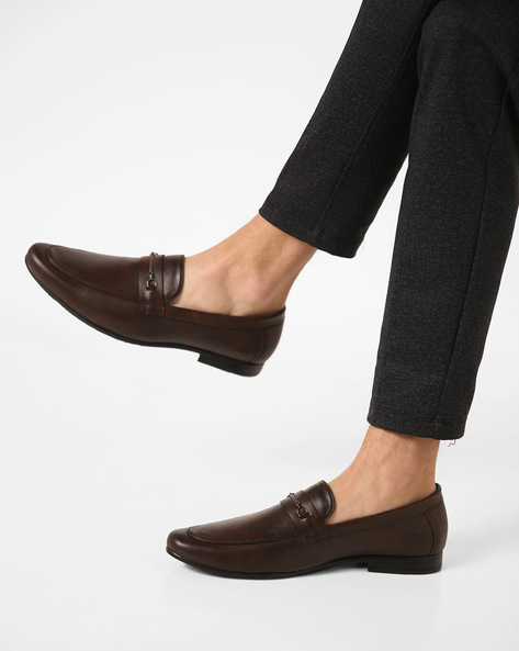Leather Slip-Ons With Metal Accent By Modello Domani ( Brown )