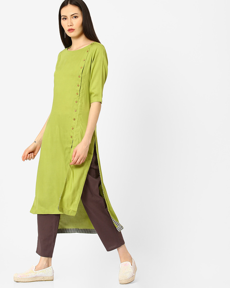 High-Low Kurta With Front Slit By AJIO ( Lightgreen )