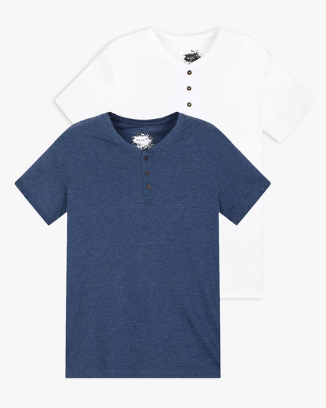 Pack Of 2 Henley T-shirts By AJIO ( Assorted )