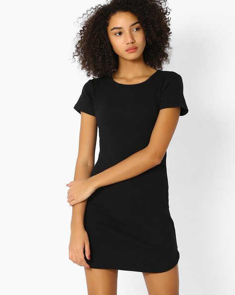 Bodycon Dress With Tie-Up By RIO ( Black )