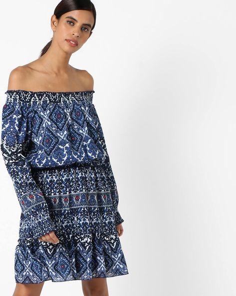 Printed Off-Shoulder Dress By RI-DRESS ( Multi )