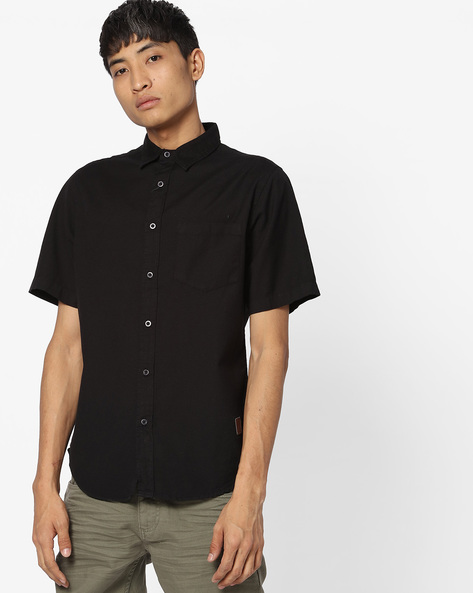 Slim Fit Shirt With Patch Pocket By Blue Saint ( Black )