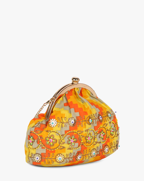 Printed Sling Clutch With Hand Embroidery By Neonia ( Yellow )