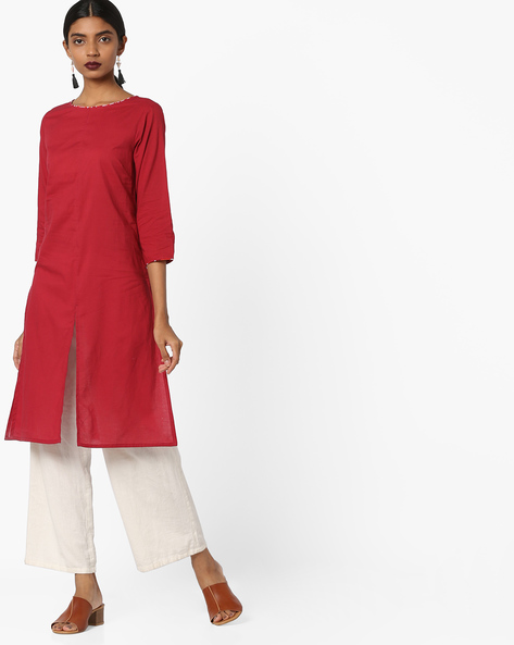 Tunic With Front Slit By AJIO ( Maroon )