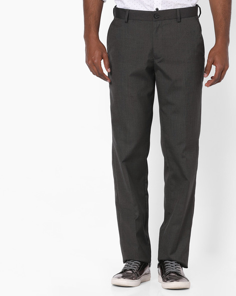 Slim Fit Flat-Front Trousers By NETWORK ( Charcoal )