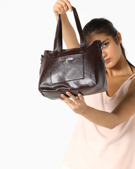 Textured Satchel With Shoulder Handles By Lino Perros ( Brown )