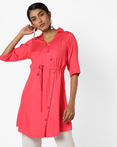 Shirt Tunic With Front Tie-up By AYAANY ( Coral )