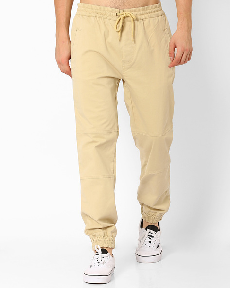 Cuffed Joggers With Drawstring Fastening By ADAMO LONDON ( Khaki )