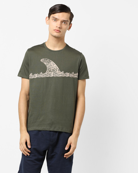 Graphic Print T-shirt By AJIO ( Olive )