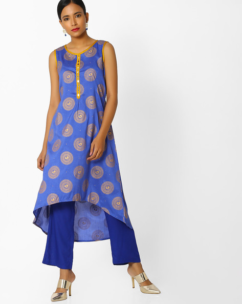 Printed High-Low Kurta By Indian Ink ( Blue )