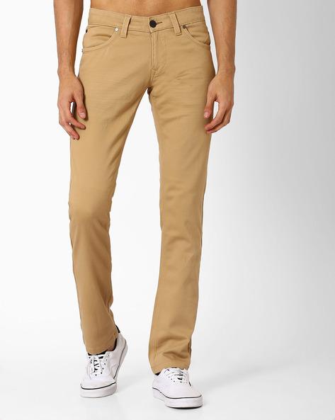 Skinny Fit Twill Stretch Trousers By BASICS ( Khaki )