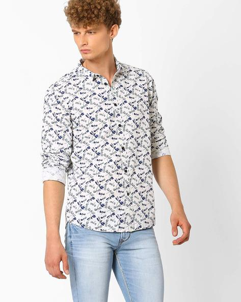 Printed Slim Fit Shirt By AJIO ( White ) - 460021188003