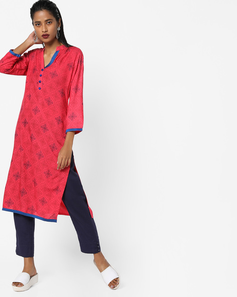 Printed Cotton Straight Kurta By SOCH ( Coral )