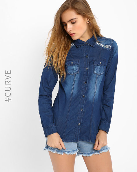 Embellished Denim Shirt By AJIO ( Blue )