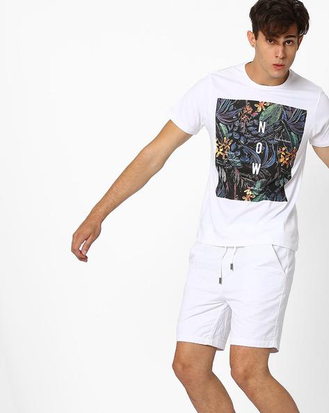 Graphic Print Slim T-shirt By AJIO ( White )