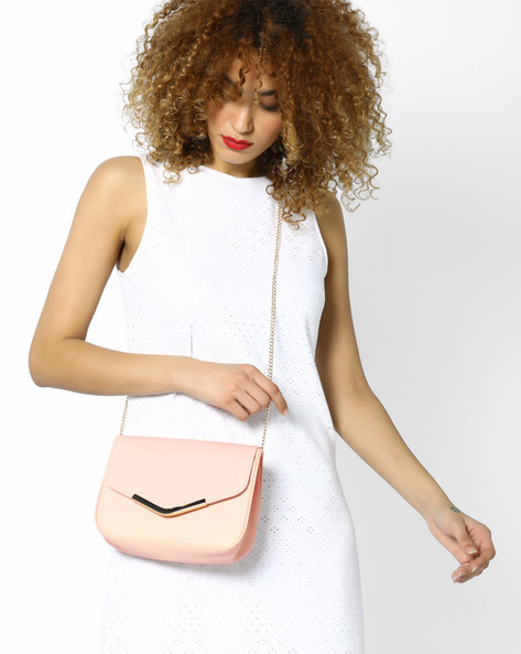 Sling Bag With Drop-In Chain By FUR JADEN ( Nude )