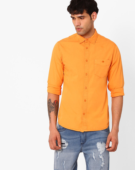 Slim Fit Cotton Shirt By Blue Saint ( Orange )