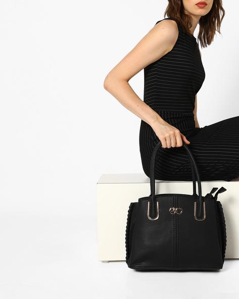 Satchel Bag With Shoulder Straps By E2O ( Black )