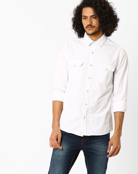 Over-Dyed Twill Utility Slim Shirt By AJIO ( White )