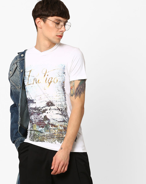 Slim Fit Cotton T-Shirt With Foil Print By Killer ( White )