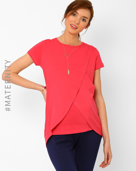 Envelope-Front Nursing Top By AJIO ( Coral )