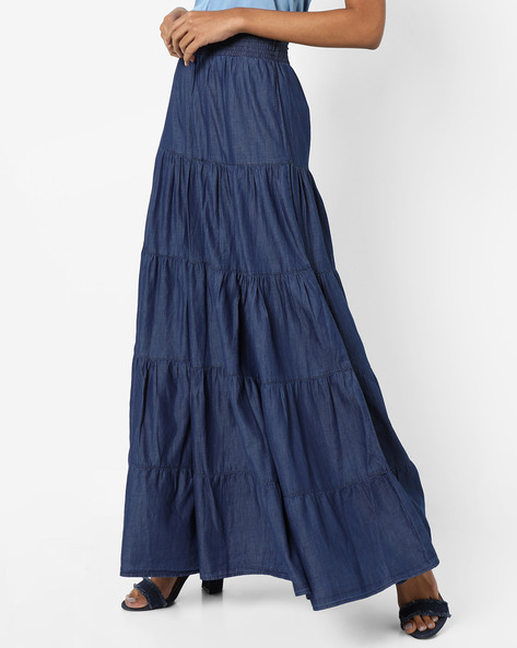 Denim Tiered Maxi Skirt By AJIO ( Indigo )