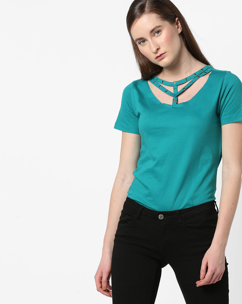 Round Neck T-shirt By AJIO ( Green )