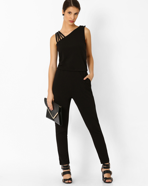 Jumpsuit With Embellished Shoulder Straps By AJIO ( Black )