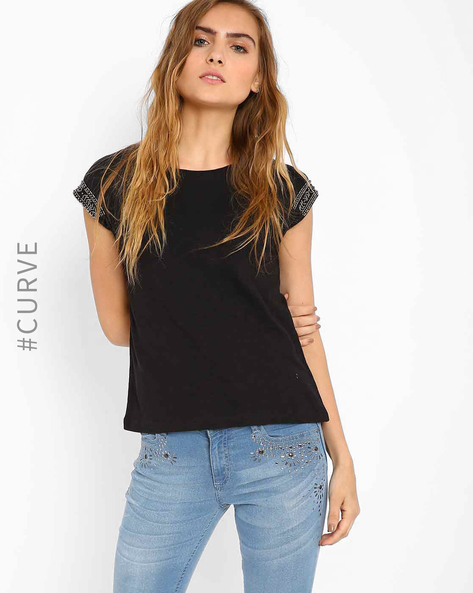 Top With Embellished Sleeves By AJIO ( Black )
