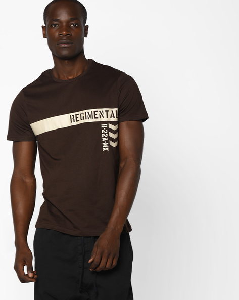 Crew-Neck T-shirt With Placement Print By AJIO ( Brown )