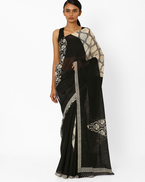 Printed Saree With Contrast Border By Akoya ( Black ) - 460044052001
