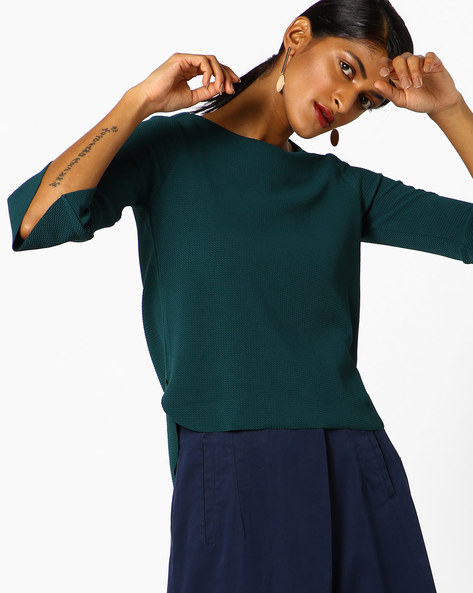 Textured Top With Bell Sleeves By CODE By Lifestyle ( Green )