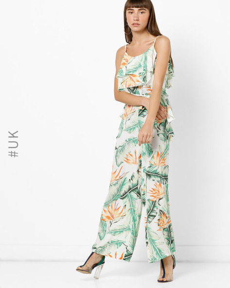 Printed Strappy Jumpsuit With Ruffled Bodice By OEUVRE ( Multi )