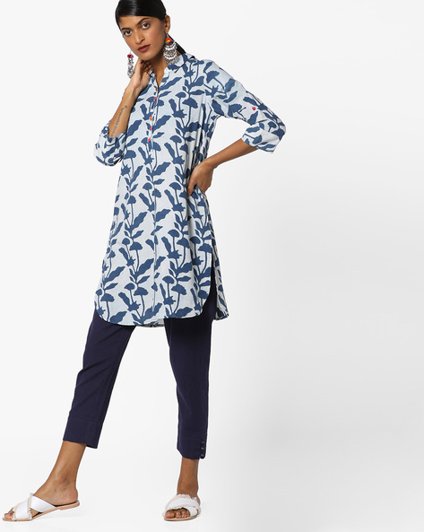 Printed Kurta With Button Placket By Melange By Lifestyle ( Blue )