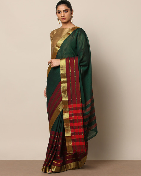 Half-and-Half South Cotton Saree With Zari By Indie Picks ( Green )