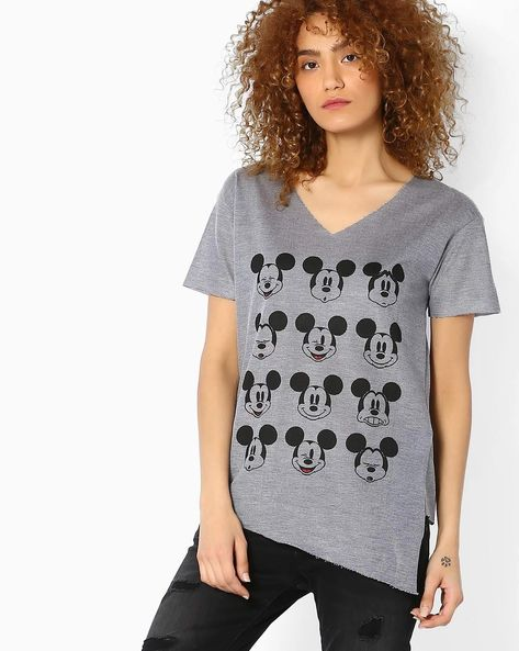 Mickey Mouse Print High-Low Top By Ginger By Lifestyle ( Blue )