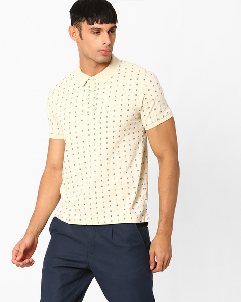 Printed Polo T-shirt With Vented Hem By FLYING MACHINE ( White )