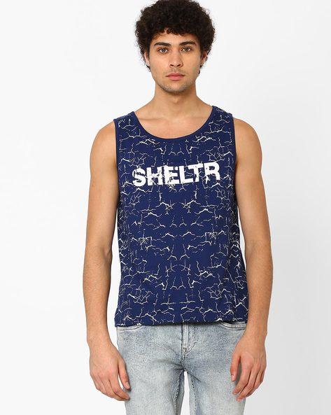 Printed Slim Fit Sleeveless T-shirt By SHELTR ( Navy )