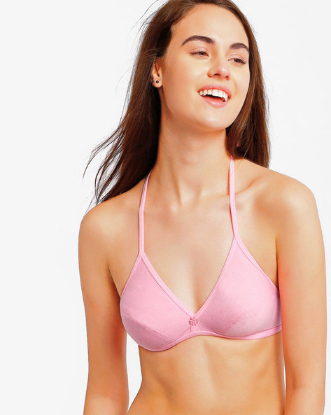 Halter-Neck Cotton Bra By Floret ( Pink )