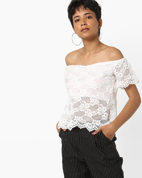 Off-Shoulder Lace Top By AJIO ( White )