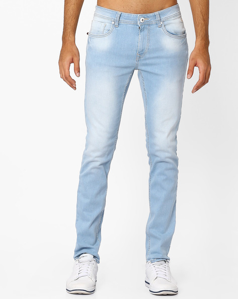 Lightly Washed Slim Michael Jeans By FLYING MACHINE ( Blue ) - 440757592002