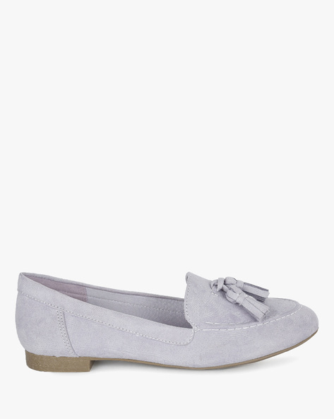 Faux Suede Tasseled Loafers By FIONI ( Lilac )
