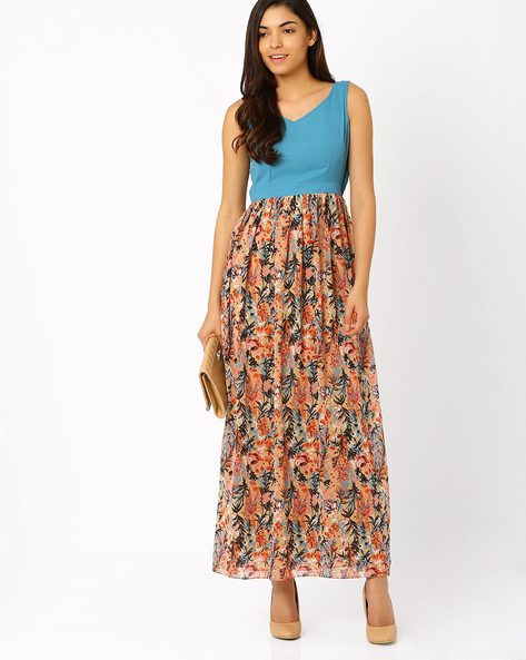 Floral Print Maxi Dress By The Vanca ( Blue )