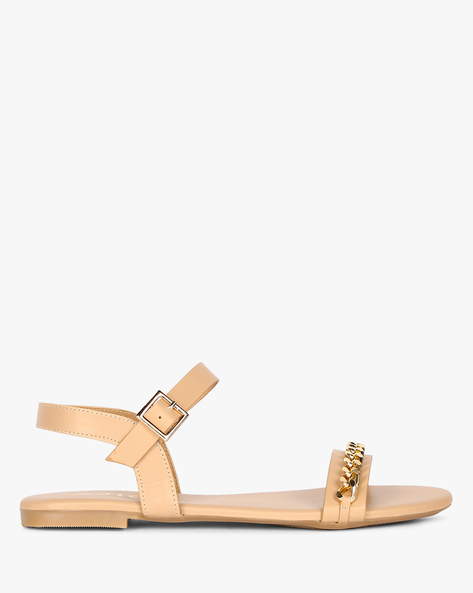 Ankle-Strap Embellished Flat Sandals By AJIO ( Cream )