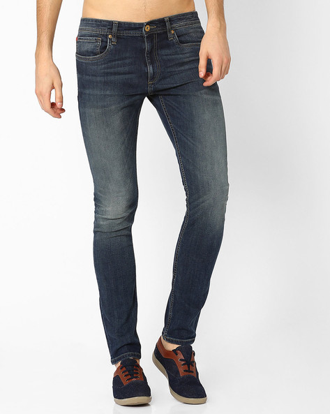 Low-Rise Lightly Washed Slim Fit Jeans By Jack & Jones ( Blue )