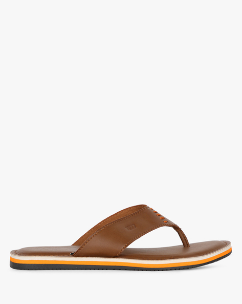 Thong-Style Flip-Flops With Stitch Detail By Estd.1977 ( Brown )