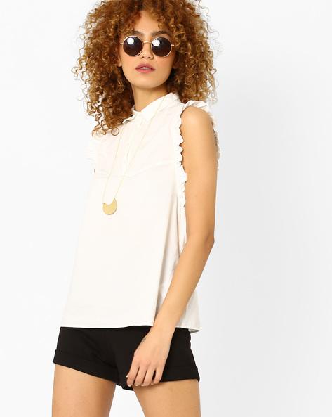 Sleeveless Shirt With Ruffles By Vero Moda ( White )