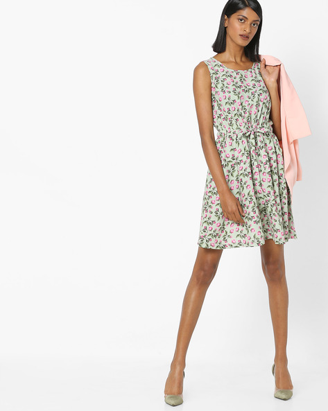 Floral Print Skater Dress With Tie-Up By RIO ( Ltgreen )
